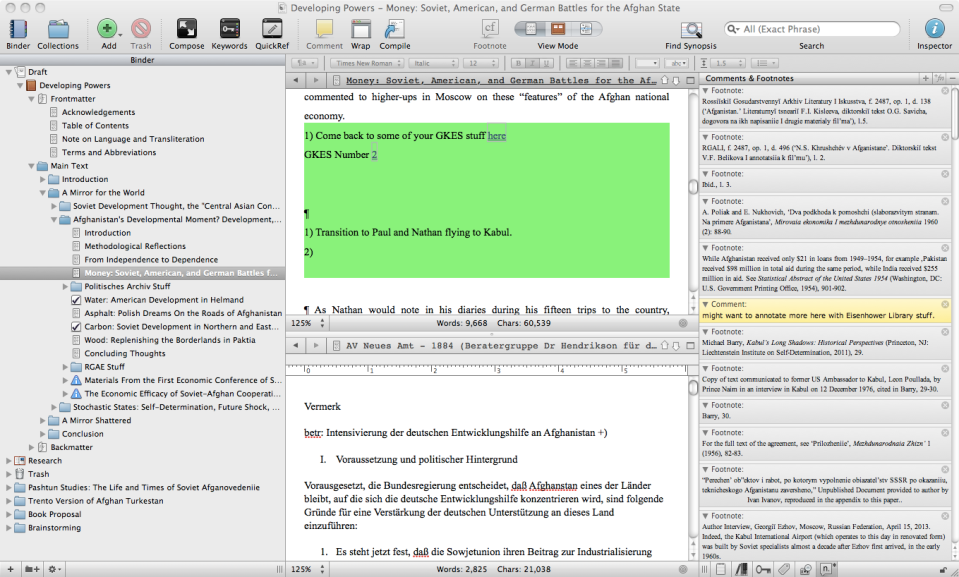 Though this be madness, yet there is method in 't: a screenshot of where I left off in my beloved Scrivener this afternoon. Next week's task: how to weave the stories of West German, Soviet, and American economists in Kabul into something that's narratively compelling and contains an argument?