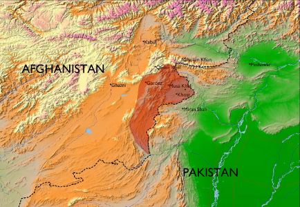 Exhibit No. 2: a map of the location of Paktia Province, Afghanistan, circa the 1960s. Spot the bad design principles!